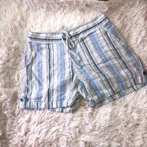 Per Se Striped Linen Beach Shorts Medium Blue
